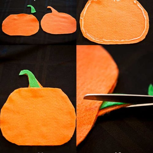 Steps 9 through 12 in making these Halloween Silverware Holders shown in a collage of step photos.