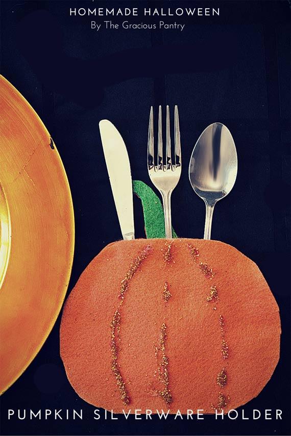 DIY Halloween (Or Thanksgiving!) Pumpkin Silverware Holders