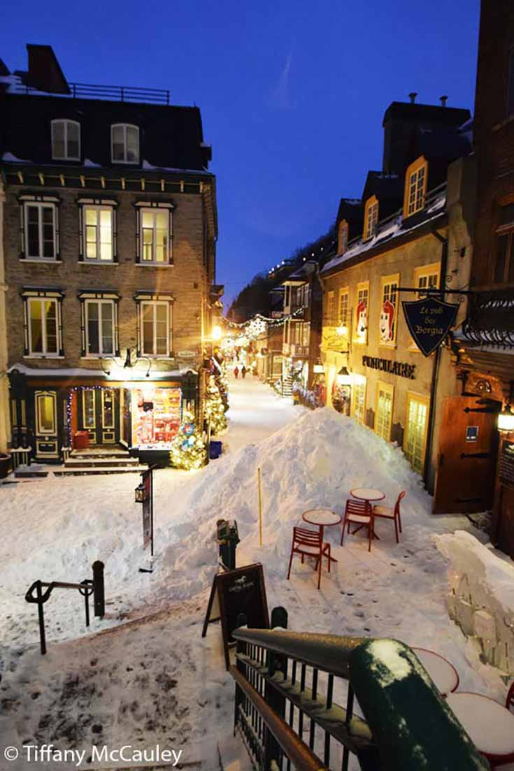 Old Quebec City with lots of snow and holiday lights.
