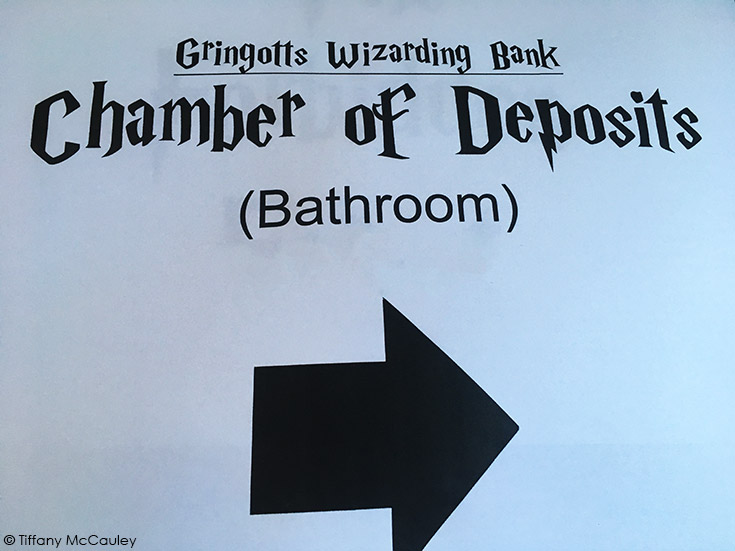 Chamber of deposits sign for the bathroom.