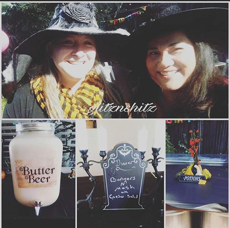 A collage of photos my friend took at my harry potter party.