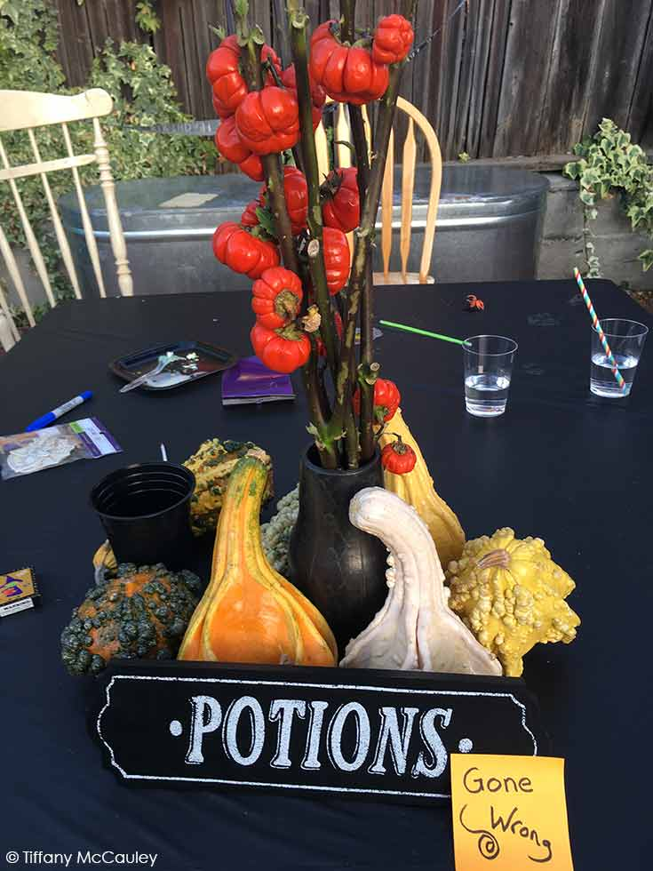 A decorated table with gourds and a black table cloth.
