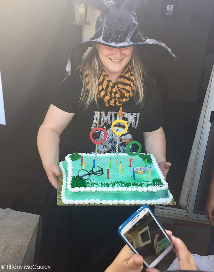 Me bringing out the Harry Potter birthday cake to sing happy birhtday.